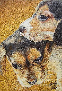 Beagle Puppies by Judy Skaltsounis