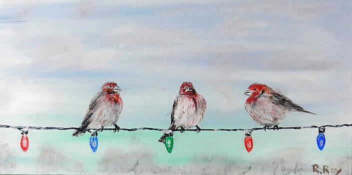Birds on Christmas Lights by Robert Roy