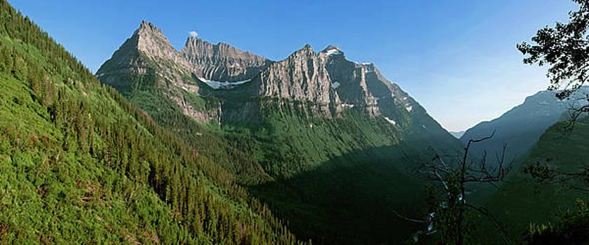 Birdwoman Falls Glacier National Park Montana Mountain Panorama Larry Darnell by Larry Darnell