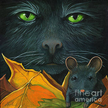 Black Cat and Mouse by Linda Apple