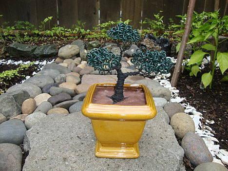 Bonsai Tree Medium Square Golden Vase by Scott Faucett