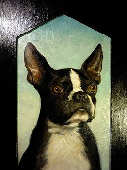 Boston Terrier Portrait Painting by June Ponte