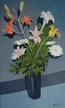 Bouquet in a Blue Vase by Lester Glass
