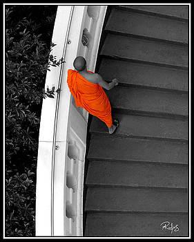 Buddhist Monks climb up the Golden Mountain by Allan Rufus