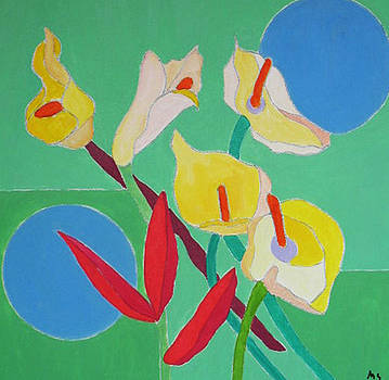 Calla Red Leaves by Martin Silverstein