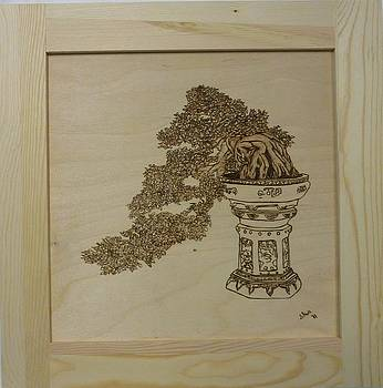 Cascading Bonsai Framed Pyrographic Original Wood Panel by Pigatopia by Shannon Ivins