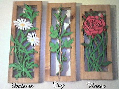 Cedar scroll sawed flowers by Timothy Wilkerson