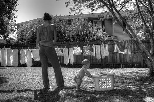 Cloth Diapers on the Line by Justin Ellis