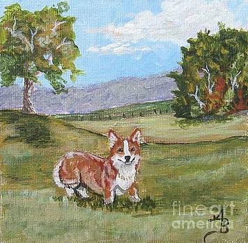 Corgi in Pasture I by Ann Becker