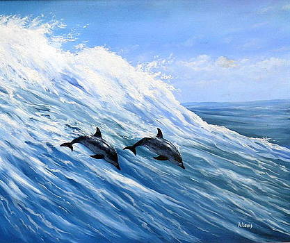 Dolphin surf by Alan Lewis
