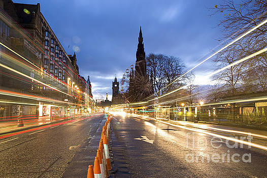 Edinburgh Princess Street Night Trails by Donald Davis