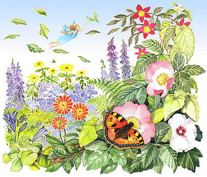 Fairy flying over flowers by Maureen Carter