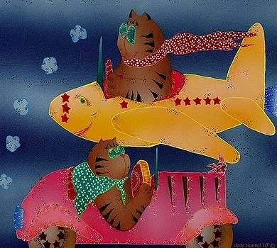 Fantasy Cat Drives and Flys by Dede Shamel Davalos