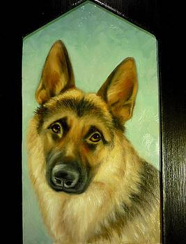 German Shepherd Portrait by June Ponte