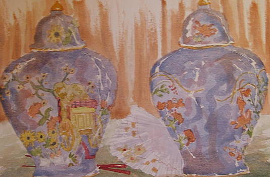 Ginger Jars with Chop Sticks by Theresa Arts