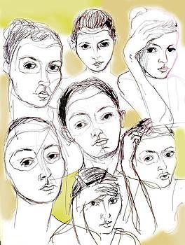 Girls thinking softly by Carina Benedek