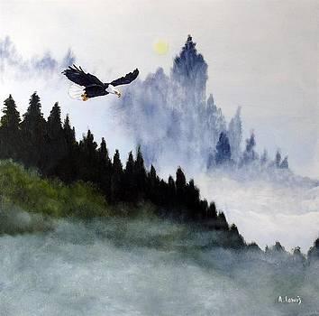 Gliding Bald Eagle by Alan Lewis