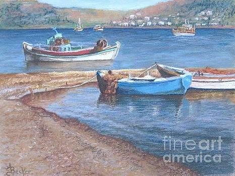 Greek Fishing Boats by Ann Becker