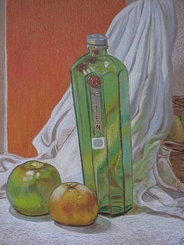 Green Bottle and Fruit. by Meera Raman