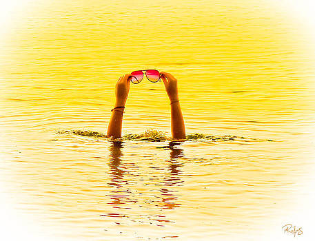 Holding the sunnies - Yellow and pink by Allan Rufus