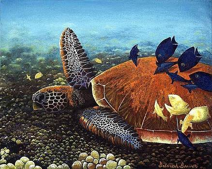 Honu with Cleaner Fish by Deborah Beaver