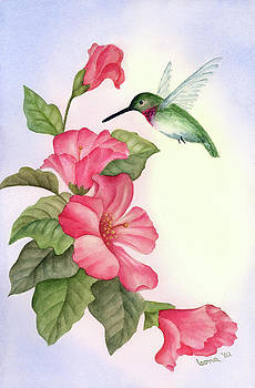 Hummingbird with Hibiscus by Leona Jones