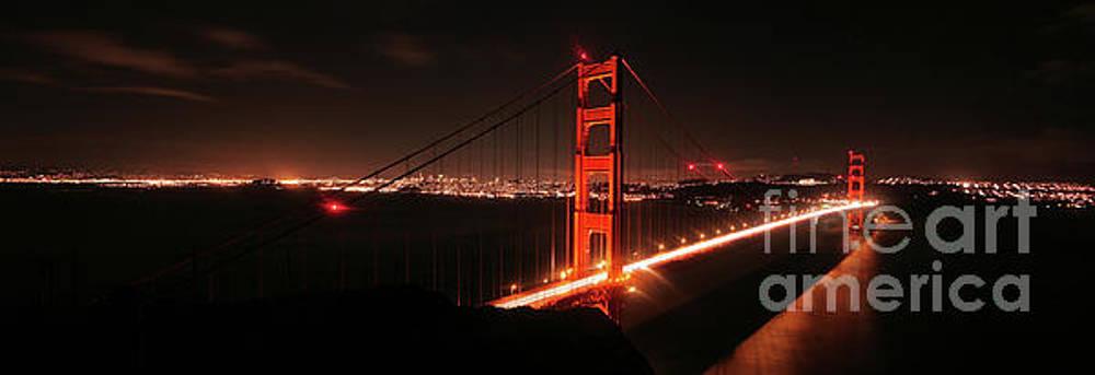 Iconic Golden Gate Bridge at Night by Matt Tilghman