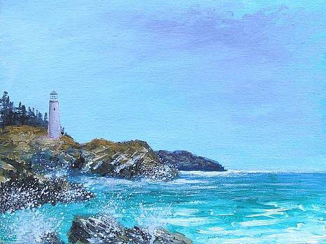 Lighthouse On The Mediterranean by Larry Cirigliano