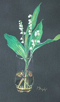 Lily of the valley in golden glass by Jody Neugebauer