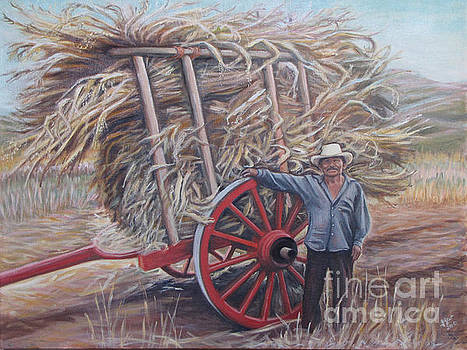 Man and red cart by Judith Zur