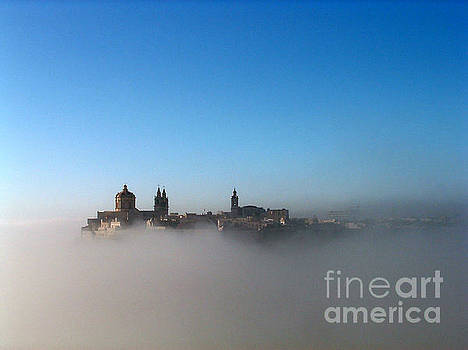 Mdina Citadel in Mist by Mary Attard