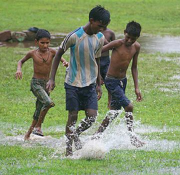 Monsoon Football - 2 by Sydney Alvares