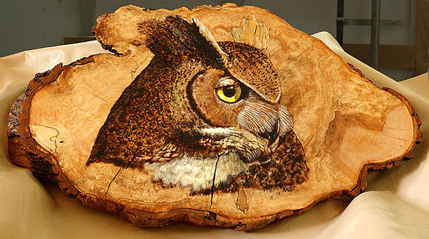 Owl on Oak Slab by Ron Haist