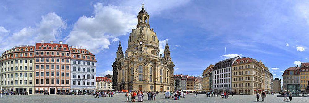 Panorama  Dresden church of our woman by Travel Images Worldwide