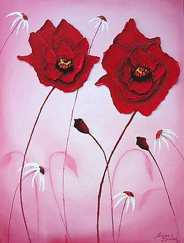 Pink sky Red Poppies 14 by Portland Art Creations