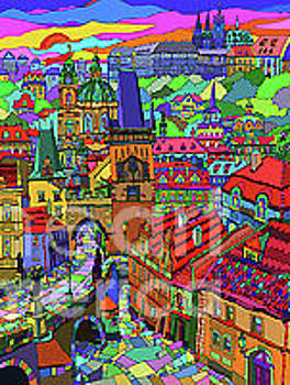 Prague Panorama with Charles Bridge by Yuriy  Shevchuk