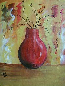 Red vase with MITSUMATA branches by Patsi Stafford