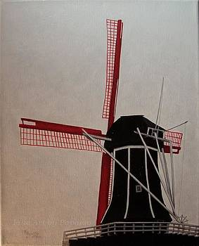 Red Windmill by Kathie Papasso