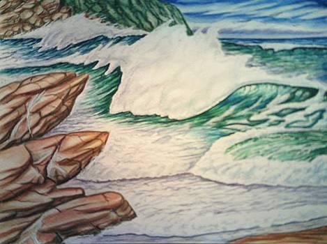 Rocky Seascape by Lynwood Pollard