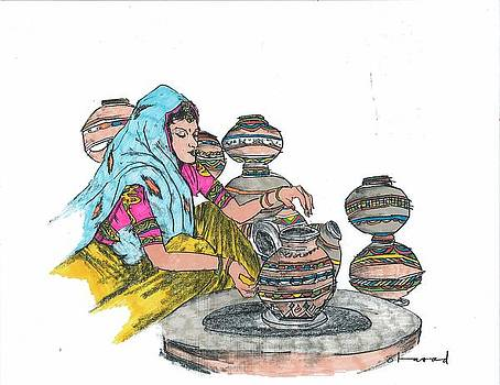 Rural Indian woman with claypots by Sharad Mathur