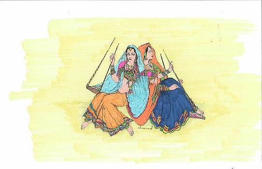 Rural Indian Women on a Swing by Sharad Mathur