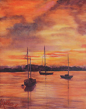 Sailboats in the Sunset by Pauline  Kretler