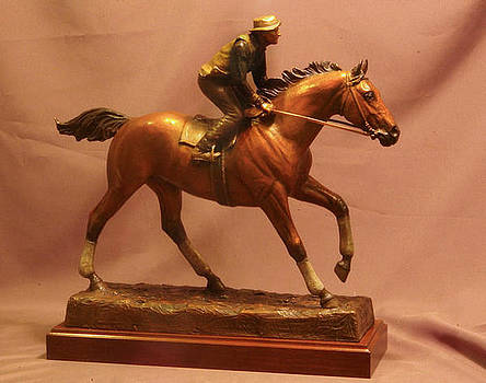 Seabiscuit statue - bronze statue of racehorse Seabiscuit and George Woolf by Kim Corpany and Stan Watts