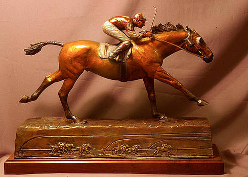 Seabiscuit statue - Final Victory bronze racehorse sculpture by Kim Corpany and Stan Watts