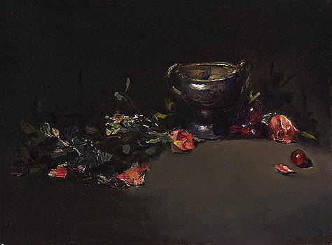 Silver Cup With Roses by Joyce Snyder
