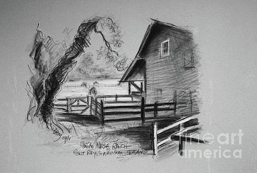 SKETCH OF MORGAN HORSE RANCH BARN  at PRNS by Paul Miller