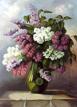 Still Life Of Lilacs by Erika Lukacs