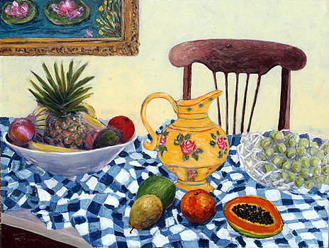 Still Life with Checkered Tablecloth by Banning Lary