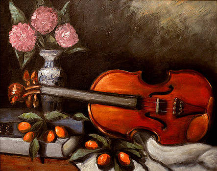 Still Life with violin by Gayle Bell