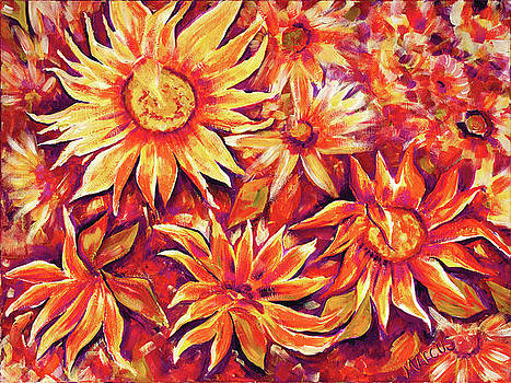 Sunflowers Coral by Leslie Marcus